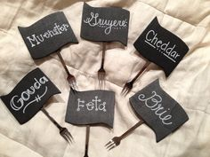 Chalkboard labels with mini fork to stick into any food or cheese :)