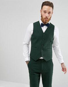 ASOS Wedding Skinny Suit Vest in Forest Green Herringbone - Green