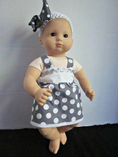 Items similar to 15 Inch Doll Clothes-Baby Doll Clothes-Custom Doll Clothes-Doll Outfits-Baby Dolls-Grey Pollka Dot Dress-Doll Accessories-Baby Doll Dress on Etsy Easy Baby Sewing Patterns, Baby Girl Dress Patterns, Baby Clothes Patterns, Baby Doll Clothes, American Girl Baby Doll, American Doll Clothes, Custom Dolls, Doll Outfits, Dot Dress