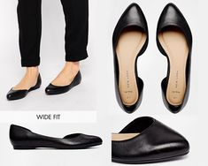 """New Look Wide-Fit """"Jamil"""" Leather Cutout Flat Ballerina Shoes   31 Legitimately Cute Shoes For Ladies With Wide Feet"""