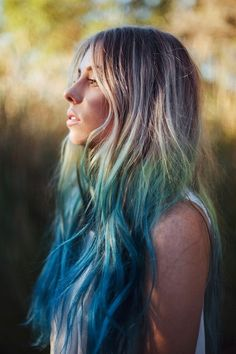 Dirty Blonde, Green, & Blue Ombré hair.