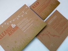 3-colour letterpress invitations on chipboard (ties into relaxed garden/outdoor theme and craft paper on tables)