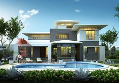 Contemporary Modern Bungalow rendering - 3D Power