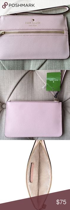 """Kate Spade Wristlet Flirty, functional and totally on-trend!   Details: Store your essentials (and even your phone) in this adorable pale pink Kate Spade wallet made of pebbled leather. Features zip top closure, custom Kate Spade interior and gold hardware, and measured 4.1""""hx6.5""""w.   Kate Harrington Boutique does not trade or negotiate price in the comment section. However, for most items we may consider reasonable offers.   Happy Poshing! kate spade Bags Clutches & Wristlets"""