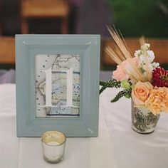 Blue Framed Map Table Numbers