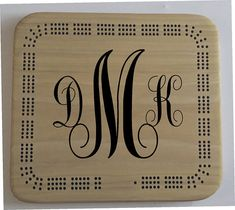 "Custom wooden cribbage board monogram log, You will be the star of the party when you give a hand crafted personalized gift that shows how much you care.  This custom cribbage board has - Custom logo - 9"" x 10"" square design - 3 person cribbage board - personalized or text added at no extra cost - custom made for you from North American hardwood - 6 pegs included #cribbage #cribbageboard #cardgames"