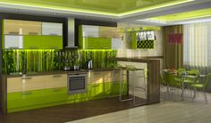 Beautiful Lime Green Kitchen Design Displaying Modern Kitchen Cabinets With Wooden Countertop And Nice Wallpaper Backsplash As Well As Bar Kitchen Table Be Equipped Double Bar Stools, Charmingly Green Cabinets Design For Modern Kitchen : Furniture, Interior, Kitchen