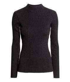 Geripptes Shirt mit Turtleneck | Schwarz | Damen | H&M DE