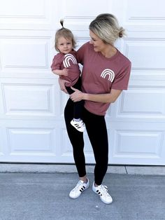 Matching Mommy & Me Duo!Twin with your bestie in these cute & comfy rainbow tees! Momma Shirts, Mommy And Me Shirt, Mommy And Me Outfits, Baby Shirts, Mother Daughter Matching Shirts, Mother Daughter Fashion, Twin Outfits, Toddler Fashion, Girl Fashion