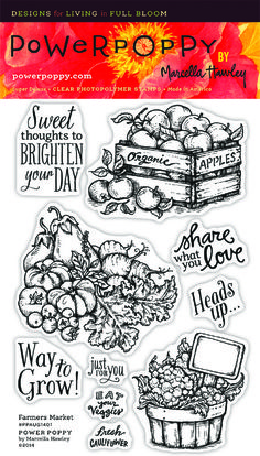 Power Poppy FARMERS MARKET Clear Stamp Set PPAUG1401