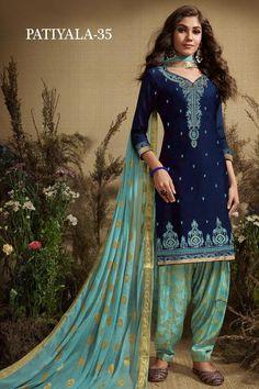 Party Wear Blue color Salwar Kameez in Silk cotton fabric with Patiala Embroidered, Resham, Thread, Zari work : 1589837 Patiala Salwar Suits, Salwar Dress, Punjabi Suits, Saree Blouse, Pakistani Formal Dresses, Indian Dresses, Indian Outfits, Wedding Embroidery, Indian Embroidery