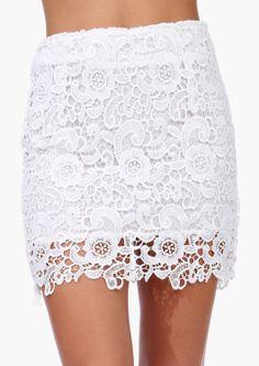 blanco Floral Crochet Lace Bodycon falda EUR€21.62