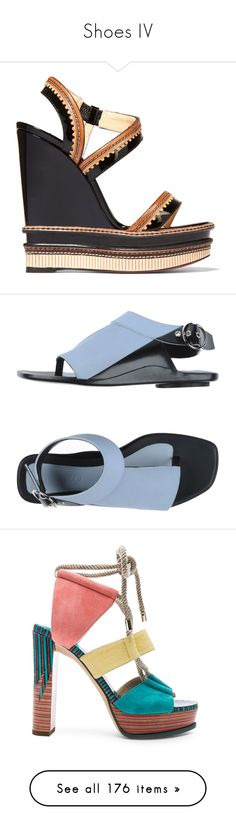 """""""Shoes IV"""" by wanda-india-acosta ❤ liked on Polyvore featuring shoes, sandals, heels, christian louboutin shoes, wedge heel sandals, strap wedge sandals, black patent leather sandals, black wedge shoes, sky blue and toe thong sandals"""