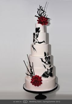 "Cream fondant with onyx and crimson ""sumi style"" hand-painted Japanese Tsuru cranes."