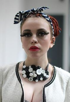 Pretty Disturbia festival Black white button necklace choker from Pretty Disturbia £9