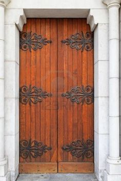 Double Wooden Door With Iron Work For Decoration Royalty Free Stock Photo, Pictures, Images And Stock Photography. Image 14319760.