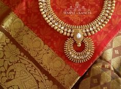 "184 Likes, 1 Comments - Temple Of Kanchi (@templeofkanchi) on Instagram: ""A fiery orange and dark greenish brown handloom pure kanchipuram silk saree with a silk brocade…"""