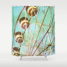 Blue Shower Curtain, Fair Bathroom Decor, Fair Shower Curtain, Ferris Wheel, Mint Blue, Carnival, Shabby Chic, Pink Green, Home Decor, love by TiffanyDawnSmith on Etsy