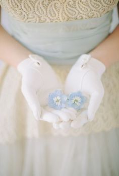 Treasures to Hold ~ Blue Flowers, Gloved Hands Blue Cream, Blue And White, Giving Hands, Bleu Pale, Wallpaper Aesthetic, Love French, French Blue, Blue Springs, Bridal Session