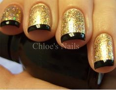 Gold & Black Tip French Mani