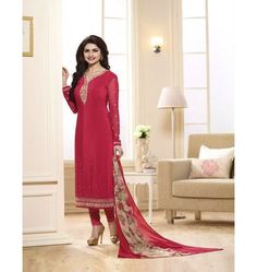 Amazing Designer Vinay Sikina Straight Suit In Red Color