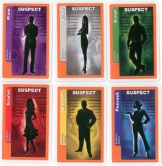 The Suspect evidence cards from the 2010 US Edition Clue Themed Parties, Party Themes, Clue Board Game, Board Games, Scarlet, Clue Party, Clue Games, Harry Potter Games, Mystery Games