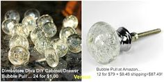 Dollar Store furniture makeover supplies:  Bubble/Cracked Glass Cabinet-Drawer Pulls for $1!