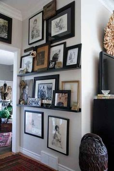 Save time and space by layering frames and knick-knacks on a ledge