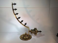 Victorian Ornate Brass Wall Hanging Coat Rack with Acorns Heavy Duty