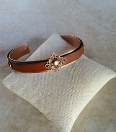 Copper and leather cuff by CatsCreationsLLC on Etsy