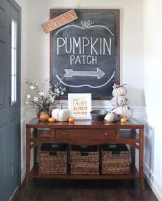 This foyer is different every holiday and today I am inspired by their fall decor… Chalkboards and Pumpkins! More Inspiring Farmhouse Fall Decor on Frugal Coupon Living.