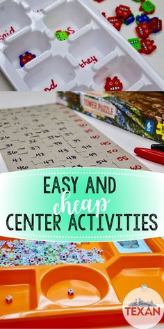 Looking for new math and reading centers?  Check out several easy and cheap DIY ideas for creating engaging activities for Kindergarten and First Grade using supplies from Dollar Tree!