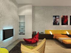 Кирпичная стена, дизайн интерьера, лофт