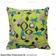Atomic Fifties, Peridot Green, Black Throw Pillow