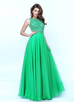 Gorgeous High Neck Keyhole Open Back Long Green Chiffon Beaded Prom Dress 3e50f4a6ff7f