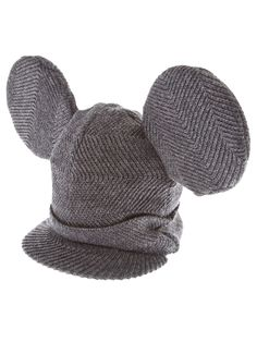 Grey wool beanie hat from Comme Des Garcons Homme Plus featuring a small peak and two large circular ears. £88.89 by farfetch