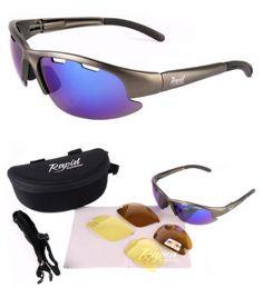 Nimbus FT (Silber) SPORT SONNENBRILLE mit Wechselgläser und Band - Blau verspiegelt, Braun Polarisiert, Gelb objektiv - Ideal Tennisbrille, Autobrille, Bikerbrille usw. Für Herren und Damen