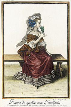 Recueil des modes de la cour de France, 'Femme de Qualité aux Thuilleries'  Nicolas Arnoult  1687