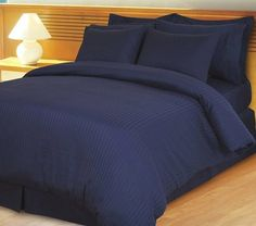 800 Thread Count Piece- Egyptian Cotton Duvet Cover Full / Queen Sets (Duvet Cover and Shams) Striped Navy Blue Teen Bedding Sets, Luxury Comforter Sets, King Size Comforter Sets, King Size Comforters, King Size Bed Sheets, Luxury Duvet Covers, Bed Sheet Sets, Duvet Sets, Bed Sets