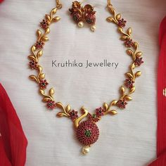 South India Jewels is a one stop destination to shop stunning South Indian Jewellery Designs. Ruby Necklace Designs, Jewelry Design Earrings, Gold Jewelry, Gold Earrings For Women, Silver Jewellery Indian, Gold Necklace, Petticoats, Bridal Jewelry Sets, Indian Bridal
