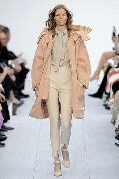 Chloe: oversized coat, high waist pants, high collar, peach, cream, khaki, winter white, coral, soft pink.