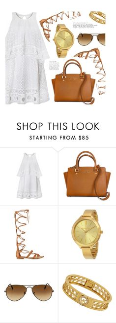 """""""Today's Choice"""" by jomashop ❤ liked on Polyvore featuring GUESS, Ray-Ban, white, ootd and brown"""