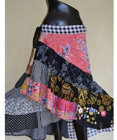 Pink  black  with Batik Cotton Patchwork Ruffle Hippie by Beeskirt