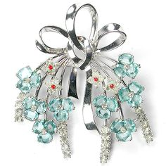 Pennino Sterling Aquamarine Floral Bow Pin