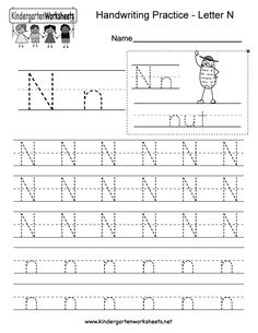 "This is a letter N tracing worksheet. Children can trace uppercase and lowercase letters and the word ""nut."" You can download, print, or use it online. Free Printable Alphabet Worksheets, Alphabet Writing Worksheets, English Worksheets For Kindergarten, Handwriting Practice Worksheets, Tracing Worksheets, Alphabet Tracing, Preschool Worksheets, Preschool Cutting Practice, Printing Practice"
