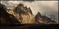 Cathedral group and lobsang spires, from Baltoro glacier. Pakistan.