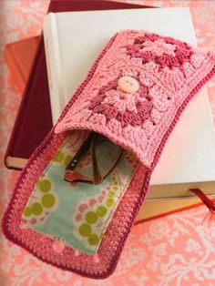 Granny squares fabric-lined eye glasses case with button closure - pic for inspiration