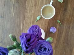 Purple lisianthus and an espresso