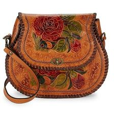 Patricia Nash Arezzo Embossed Leather Saddle Bag