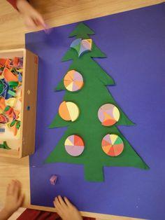 deelcirkels samenstellen en op vilten kerstboom leggen.